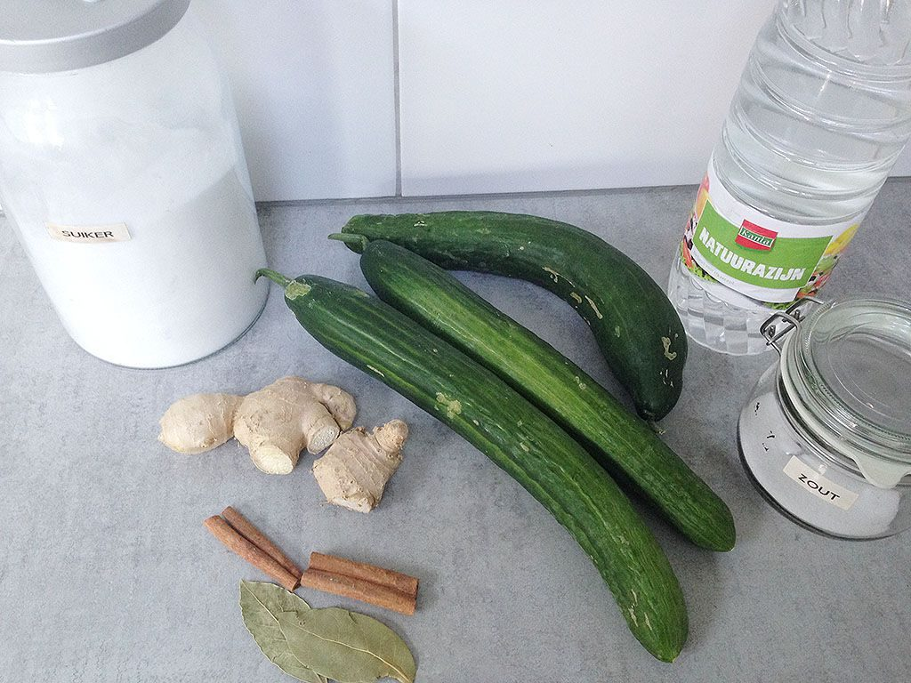 Pickled cucumbers with ginger ingredients