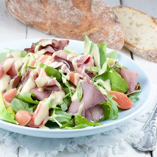 Roast beef salad with mustard dressing square - Roast beef salad with mustard dressing