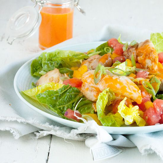 Salad with marinated chicken thighs and watermelon