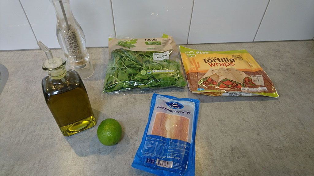 Smoked trout wrap with lime ingredients
