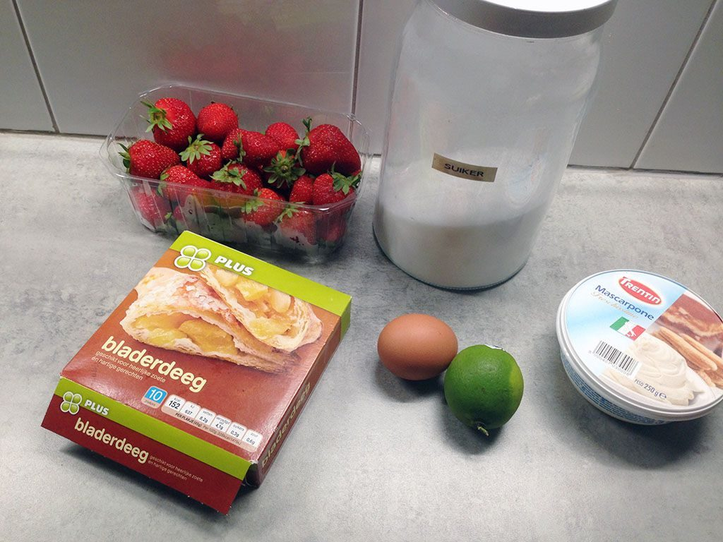 Strawberry mille-feuille ingredients