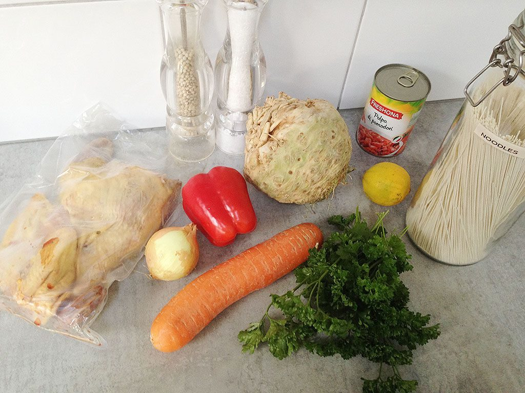 Traditional Romanian chicken noodle soup ingredients 1024x768 - Traditional Romanian chicken noodle soup