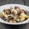 Braised leeks and minced beef 120x120 - Poireaux vinaigrette - Leeks in vinaigrette