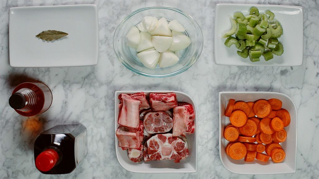 Comforting beef bone broth ingredients