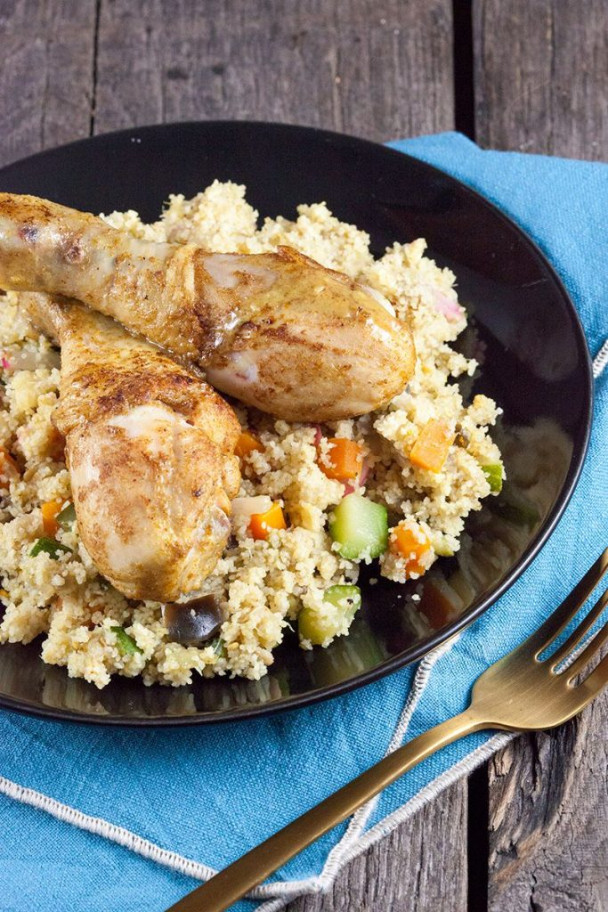 Couscous with veggies and chicken legs