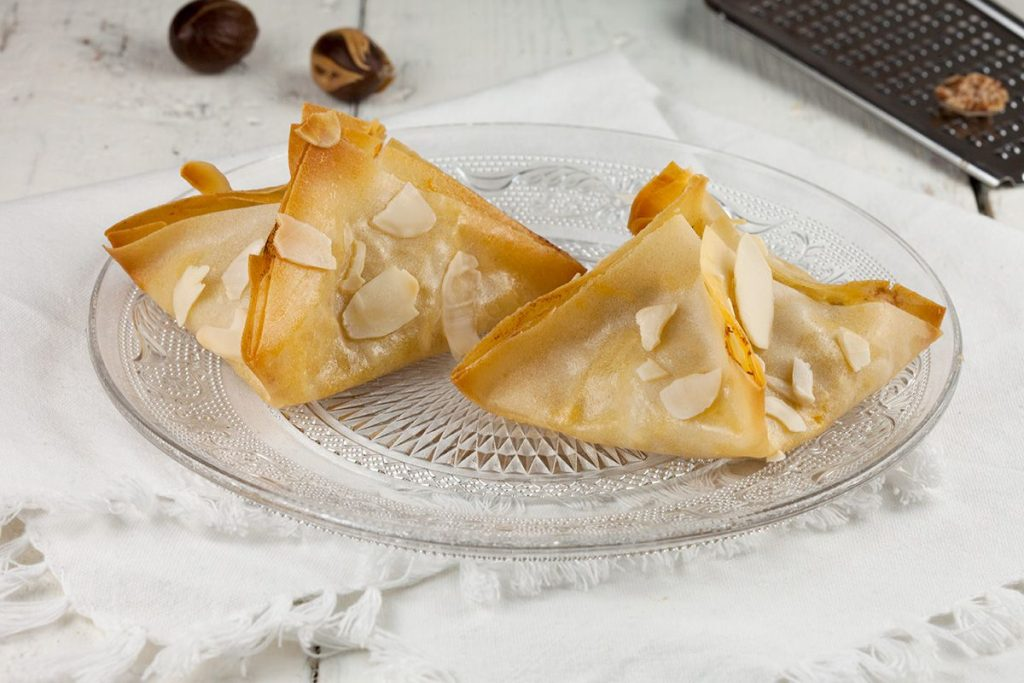 Pear and blue cheese filo pastries