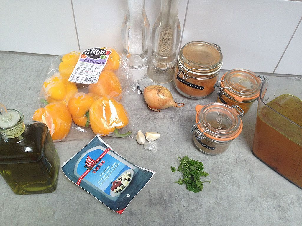 Roasted yellow pepper soup ingredients