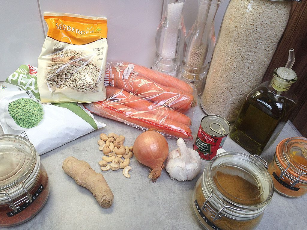 Vegetarian carrot and lentil stew ingredients