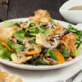 Autumn salad with warm coarse mustard dressing