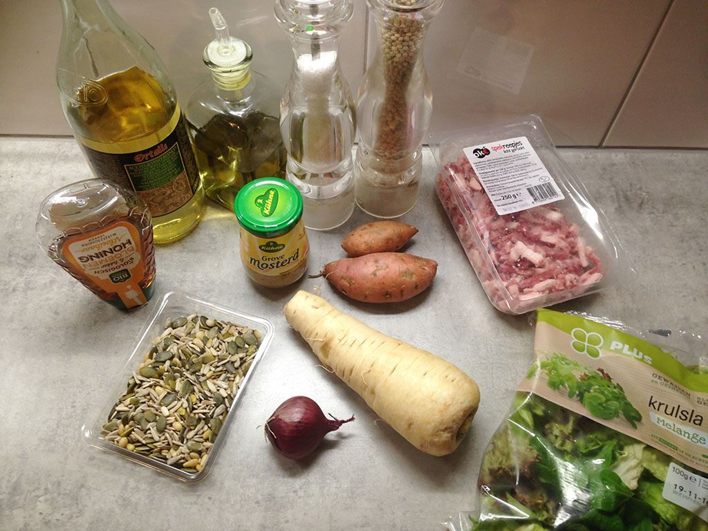 Autumn salad with warm coarse mustard dressing ingredients