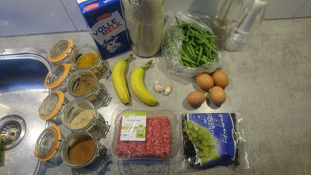 Easy bobotie ingredients