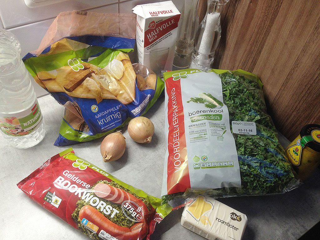Kale and potatoes a.k.a. boerenkoolstamppot ingredients