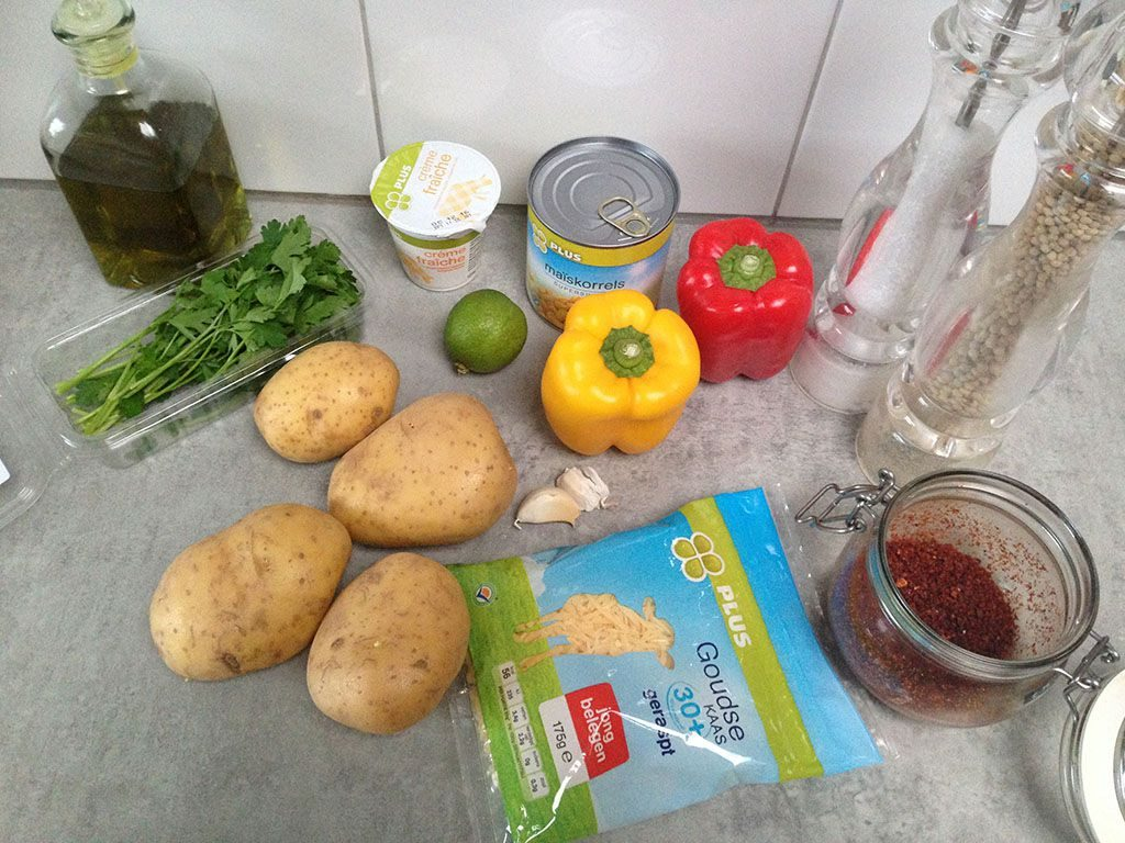Mexican jacket potatoes ingredients 1024x768 - Mexican jacket potatoes