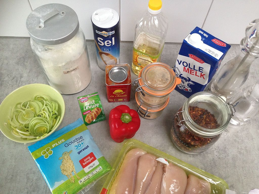 Mhancha bread with chicken ingredients