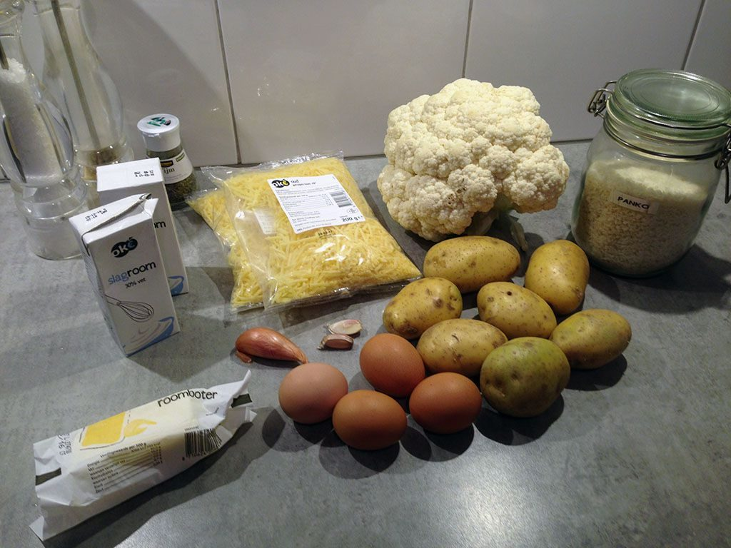 Potato and cauliflower gratin ingredients