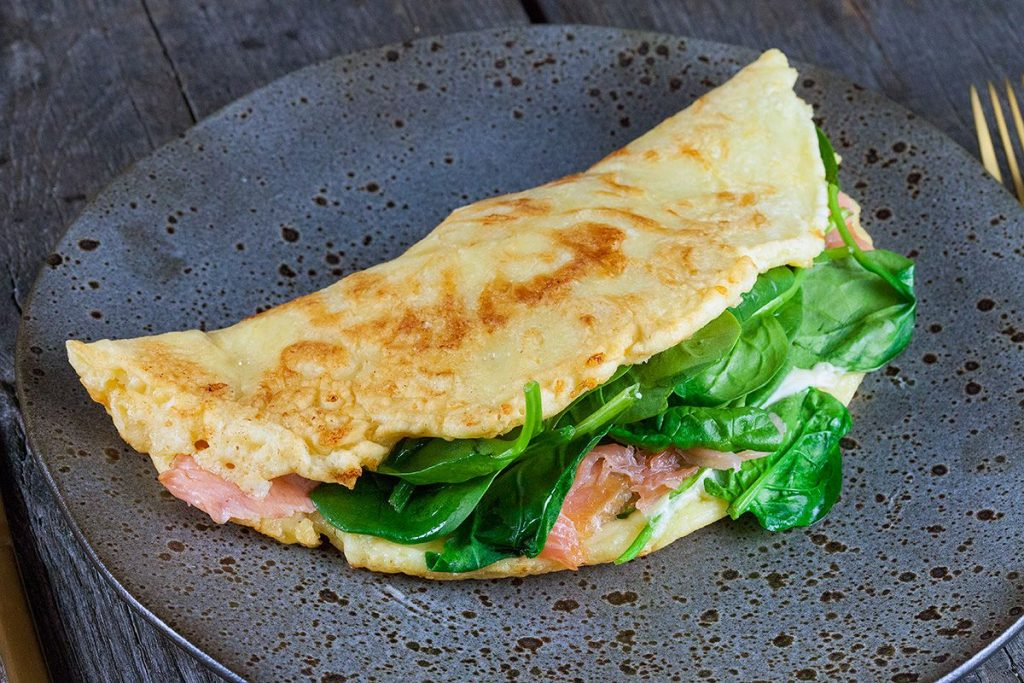 Salmon and spinach pancake