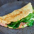 Salmon and spinach pancake 120x120 - Salmon and yuzu blinis