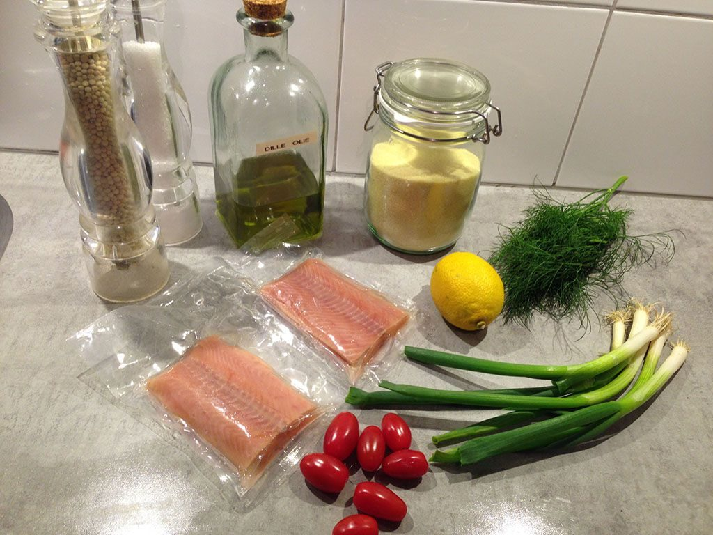 Baked salmon and warm couscous ingredients