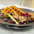 Guinea fowl with cranberries and potato waffles