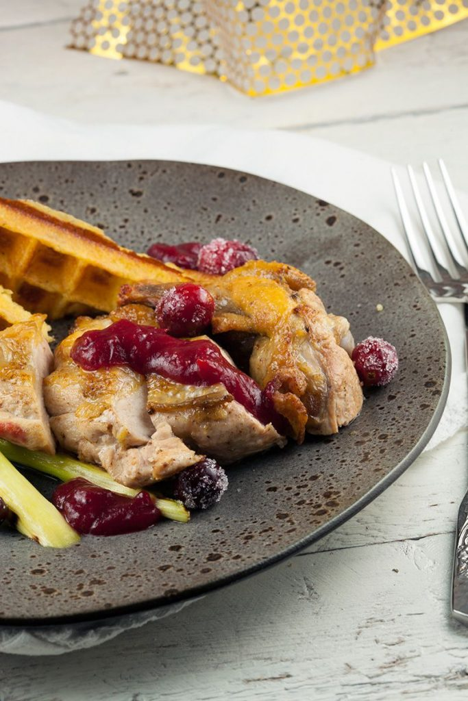 Guinea fowl with cranberries and potato waffles 2 683x1024 - Guinea fowl with cranberries and potato waffles