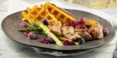 Guinea fowl with cranberries and potato waffles 400x200 - Homepage