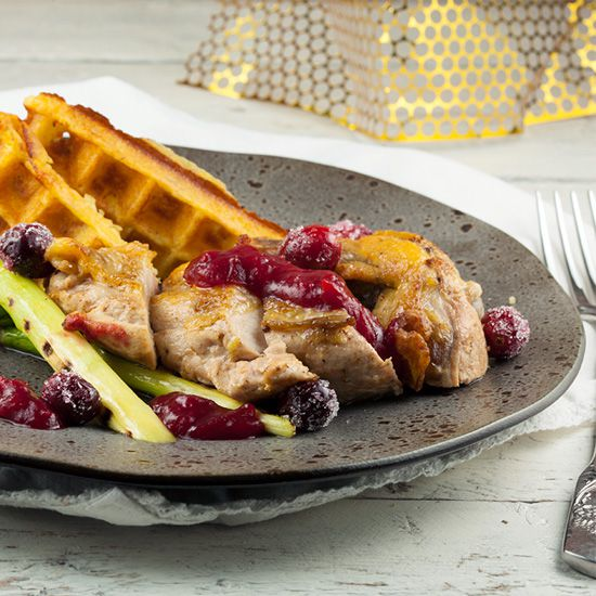 Guinea fowl with cranberries and potato waffles square - Guinea fowl with cranberries and potato waffles