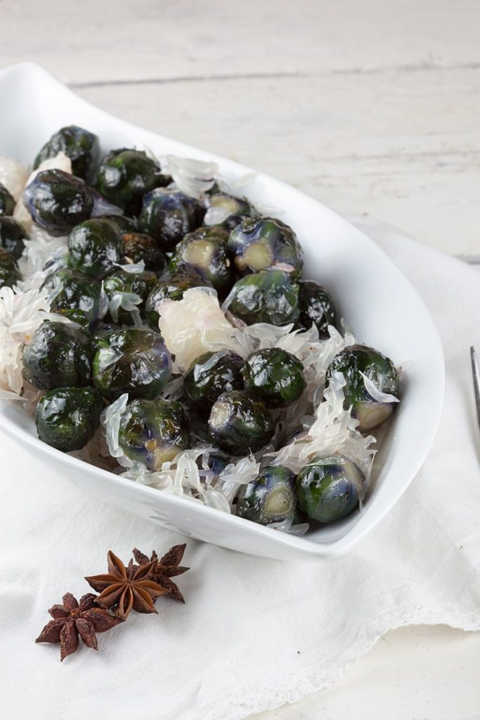 Oven-roasted purple Brussels sprouts and pomelo