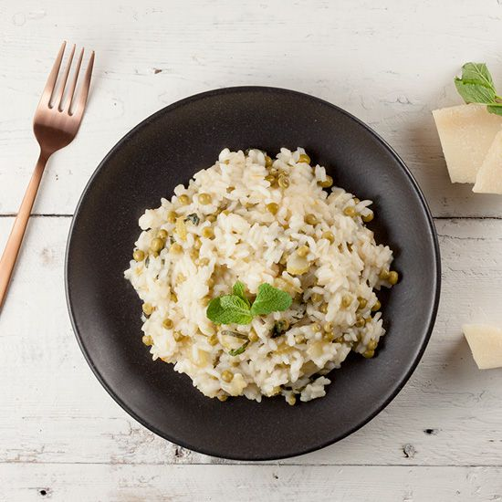 Pea and mint risotto square - Pea and mint risotto