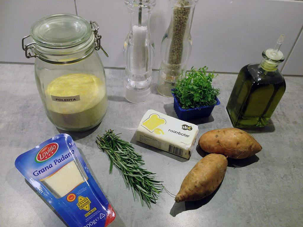 Polenta and sweet potato appetizers ingredients