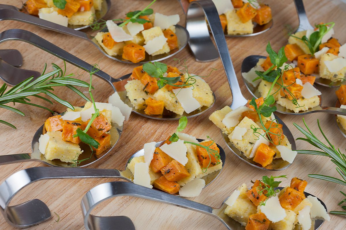 Polenta and sweet potato appetizers