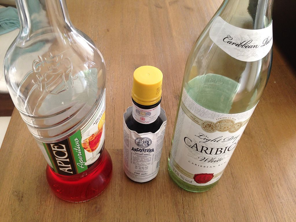 Rum and bitters cocktail ingredients
