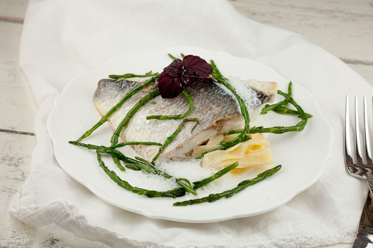Sea bream with fresh pasta and samphire