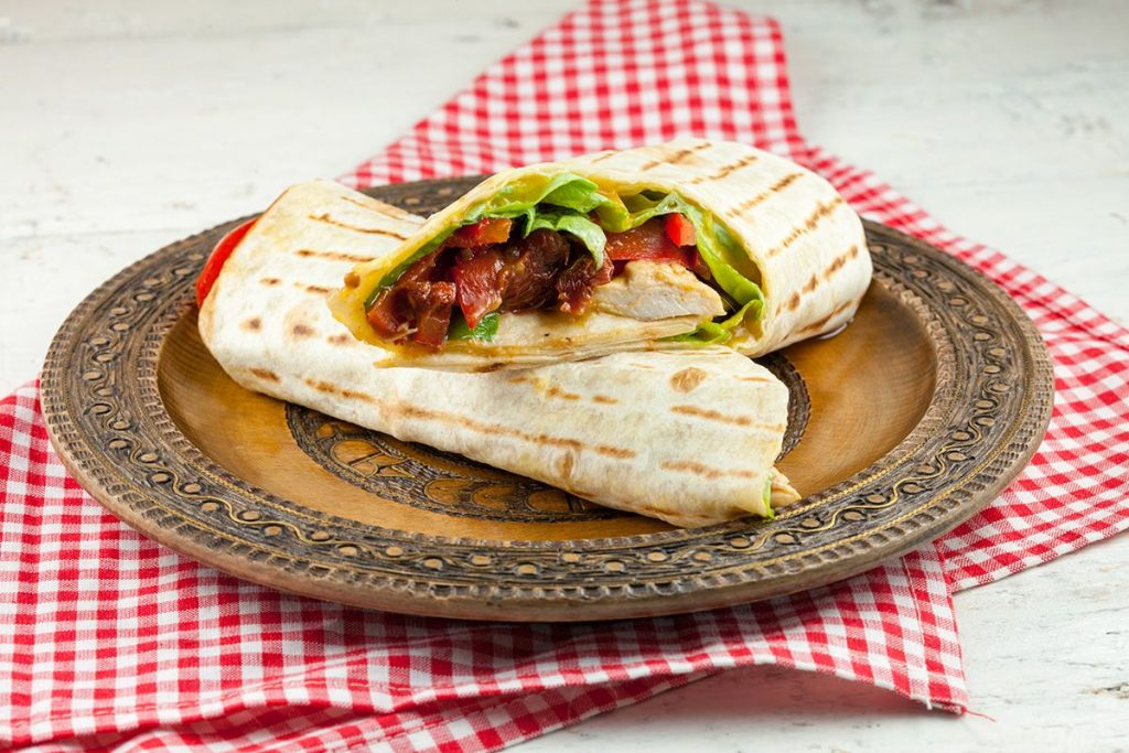 Chicken and mango tortilla wraps