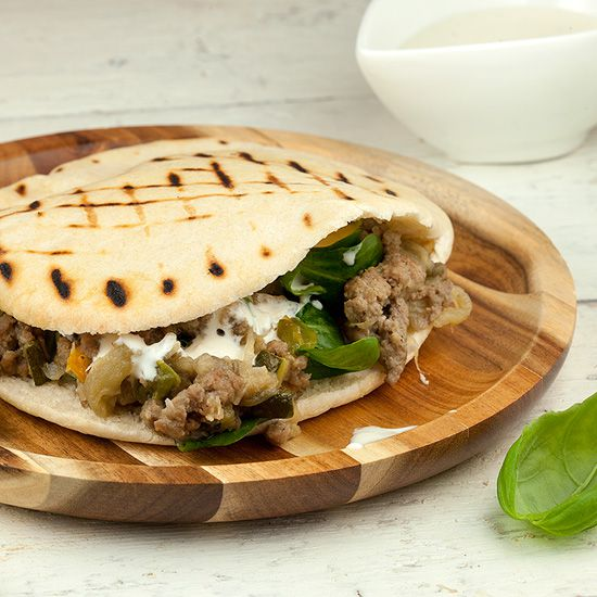 Pita bread with minced meat and eggplant square - Pita bread with minced meat and eggplant