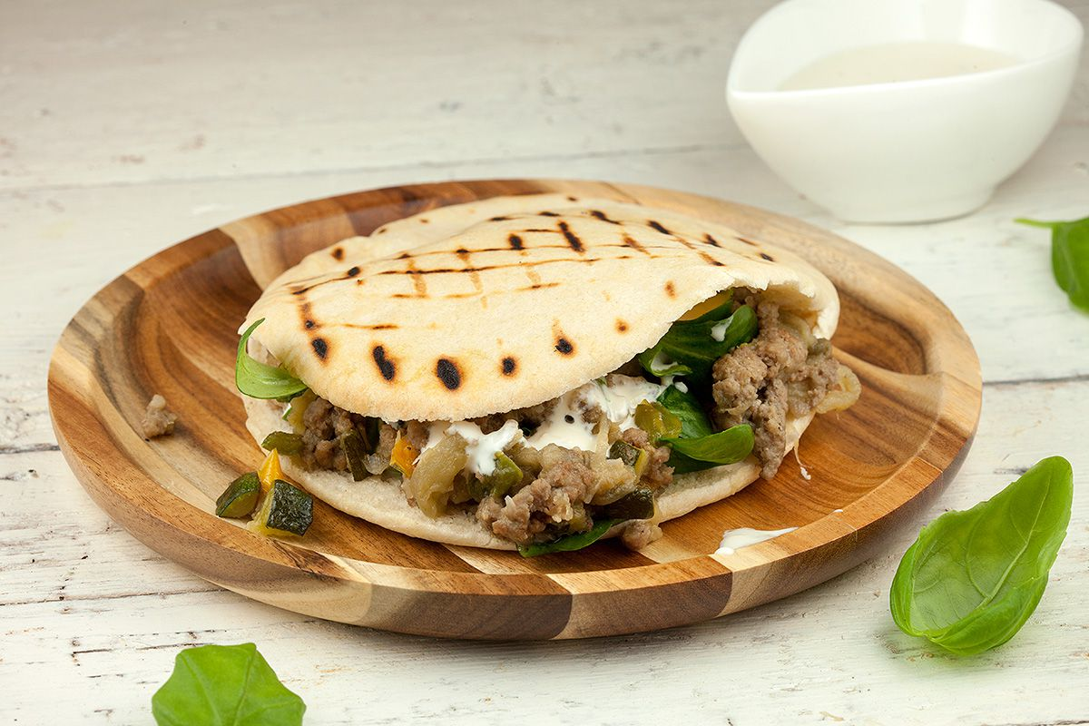 Pita Bread With Minced Meat And Eggplant Ohmydish Com