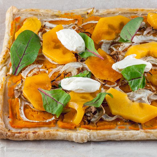 Pumpkin and fennel puff pastry tart square - Pumpkin and fennel puff pastry tart