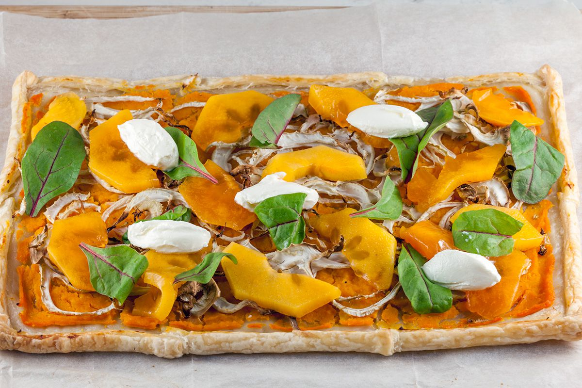 Pumpkin and fennel puff pastry tart
