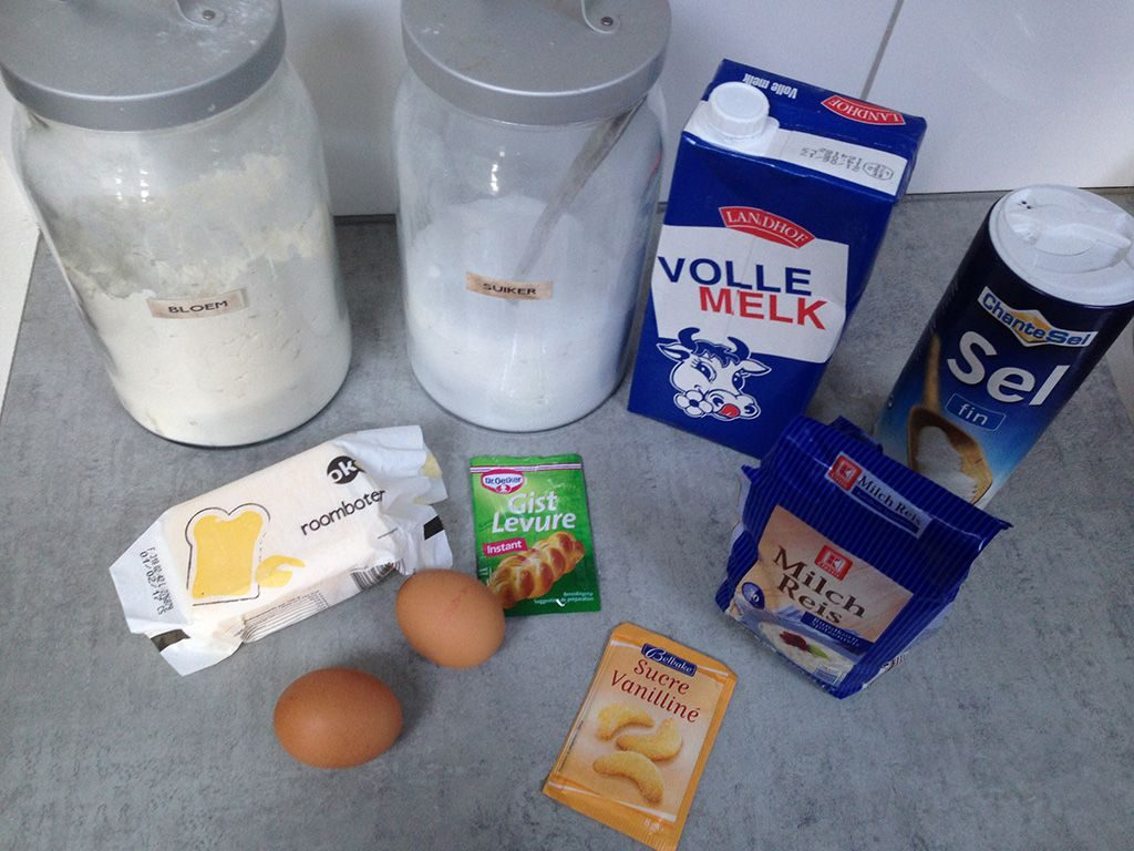 Rijstevlaai - Dutch rice pie ingredients