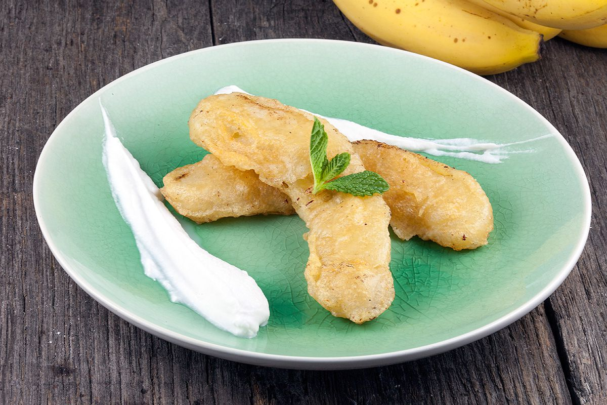 Fried banana and whipped coconut