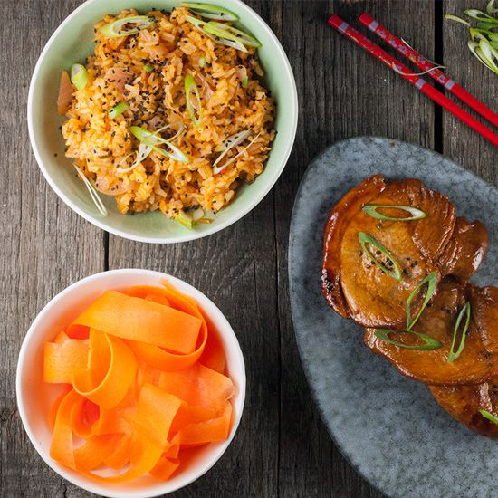 Kimchi fried rice and gochujang pork chops square - Kimchi fried rice and gochujang pork chops