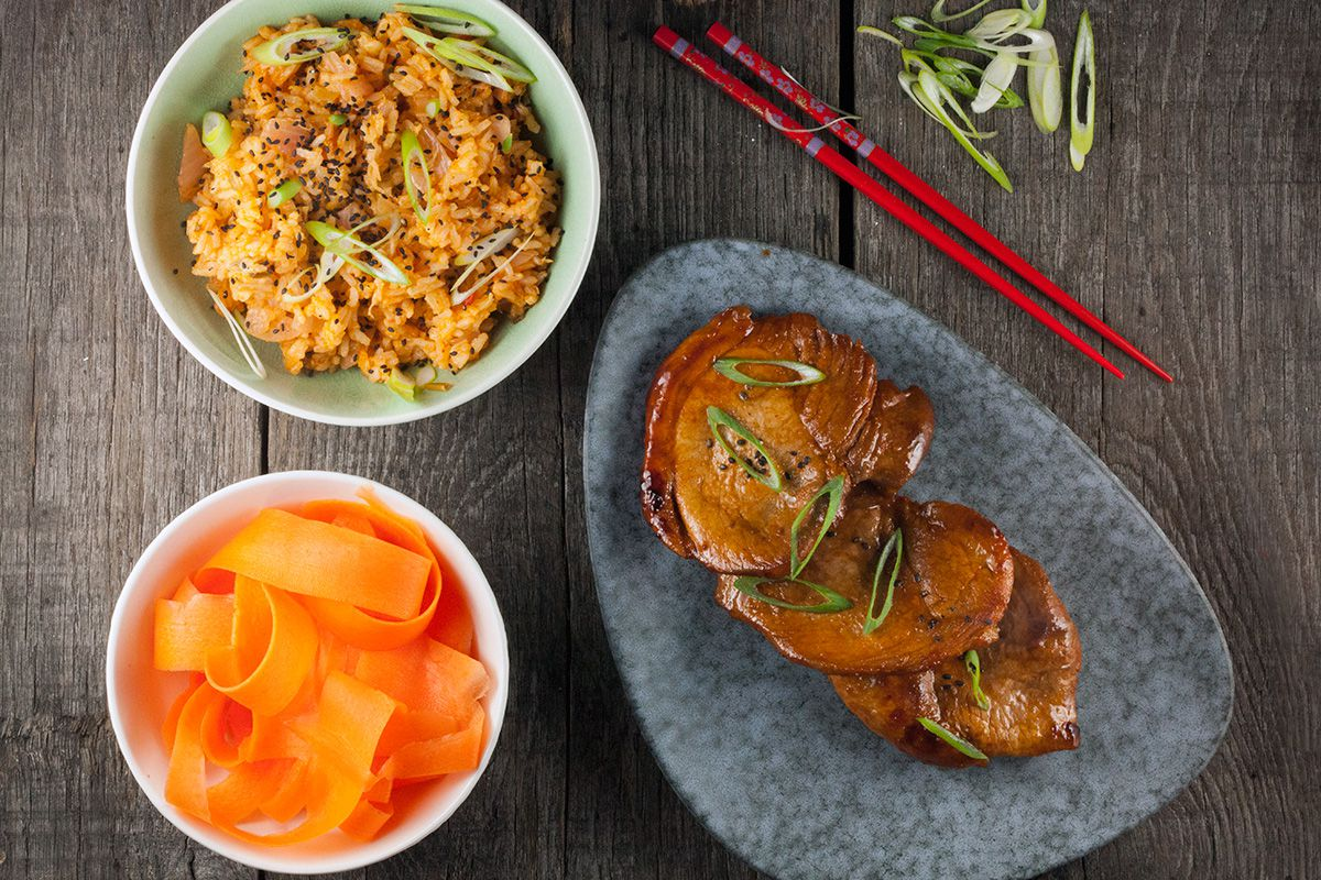 Kimchi fried rice and gochujang pork chops