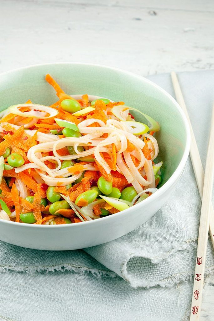 Noodle and edamame salad