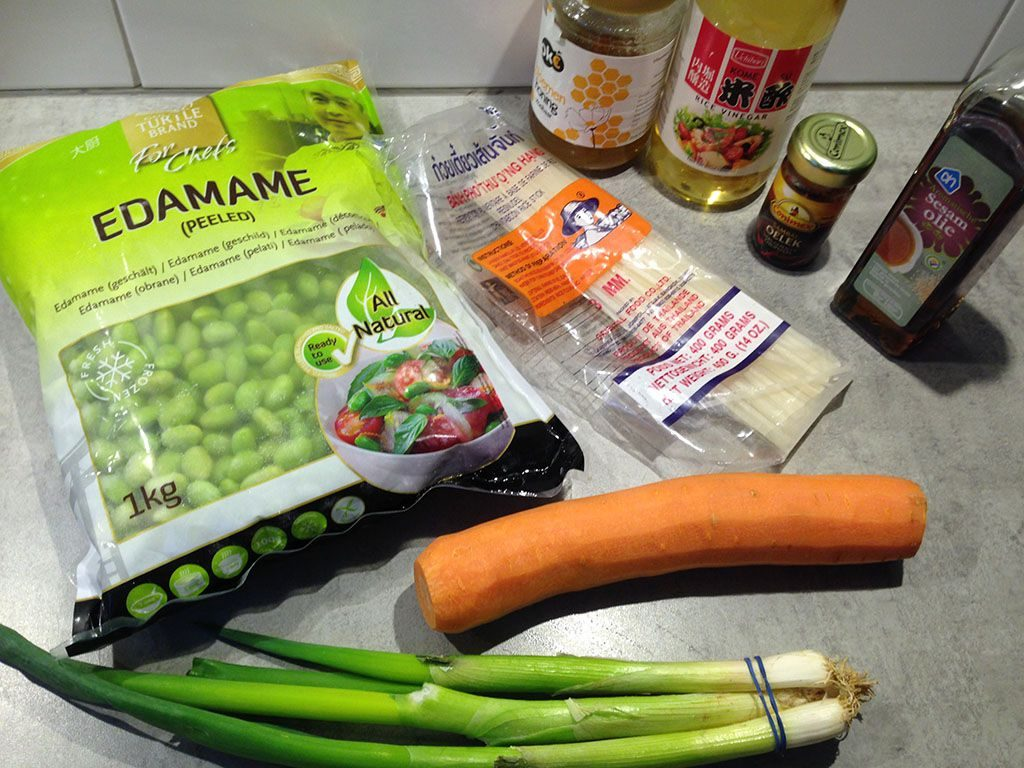 Noodle and edamame salad ingredients 1024x768 - Noodle and edamame salad