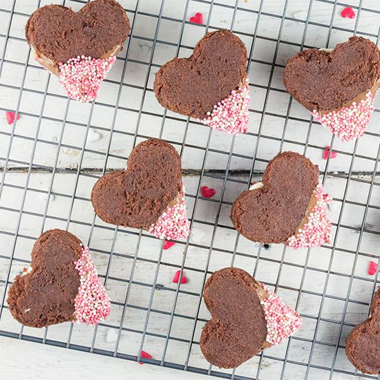 Valentines day chocolate dip cookies square - Valentine's day chocolate dip cookies