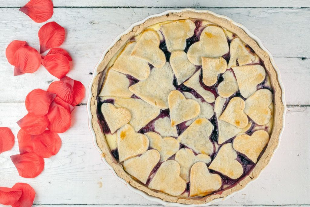Valentine's day red fruit pie