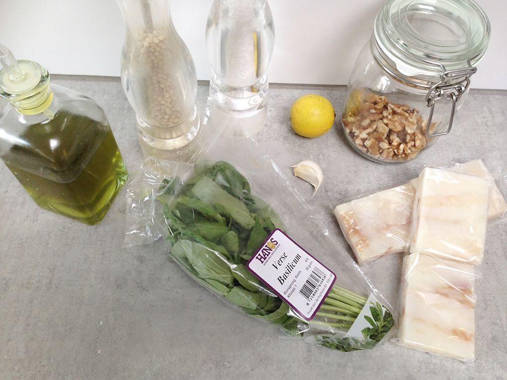 Barbecued cod with walnut pesto ingredients