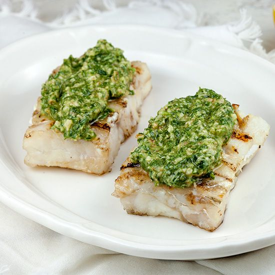 Barbecued cod with walnut pesto