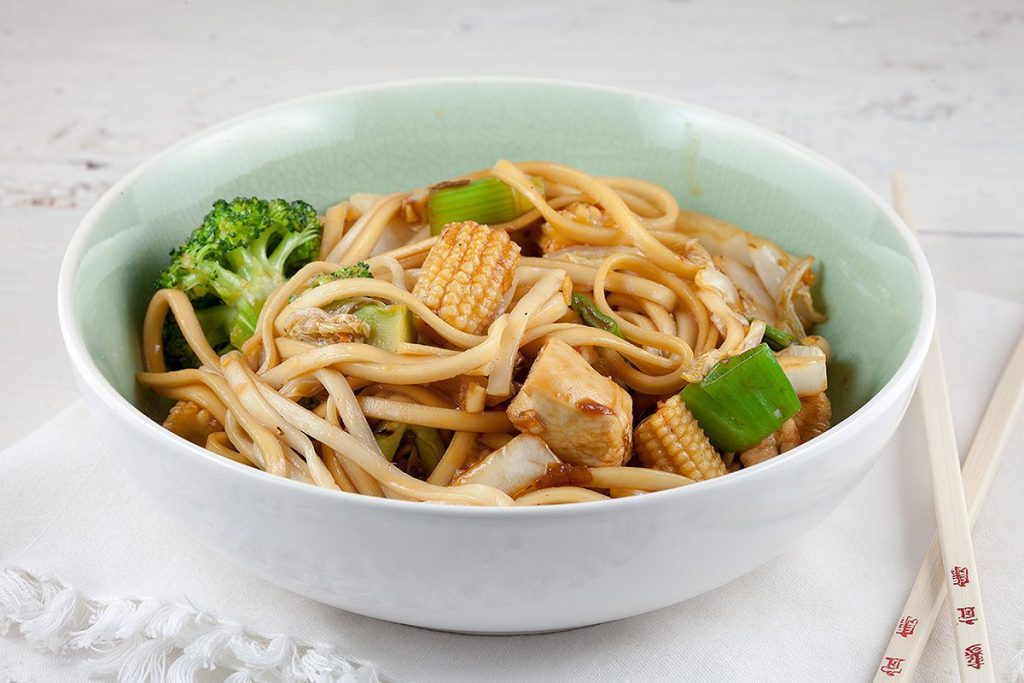 Chicken, noodles and baby corn stir-fry