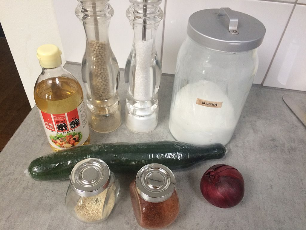 Cucumber and red onion salad ingredients