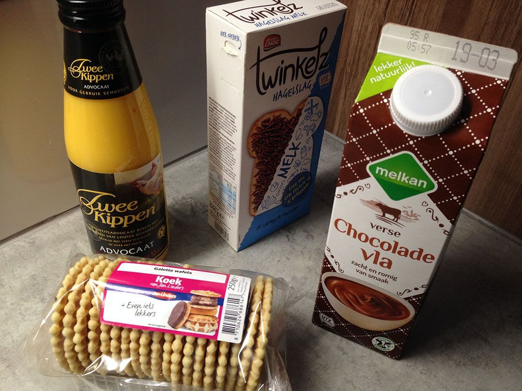 Eggnog, waffles and chocolate dessert ingredients
